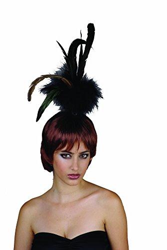 Rire Et Confetti - Fiefla018 - Accessoire pour Déguisement - Perruque - Show Girl - Cheveux + Plume - Brun