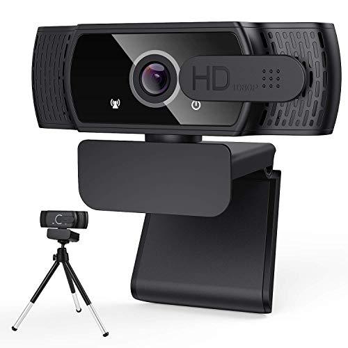 xiaocai Webcam HD 1080P con Copertura per la Privacy e treppiede, Webcam per Computer Portatile Desktop con USB e Microfono con riduzione del Rumore Integrato, Rotazione a 360 °, Plug & Play