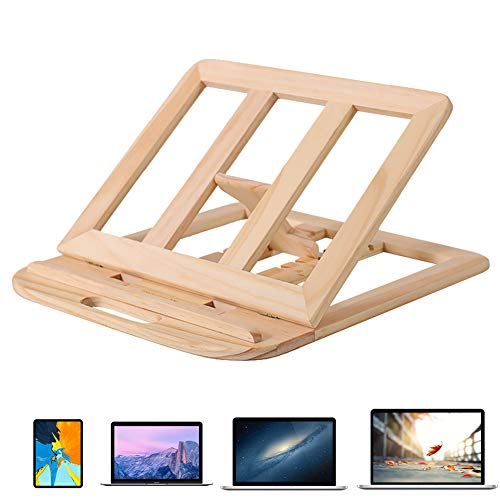 Woolala Solid Wood Laptop Desk Stand 6-Stages Adjustable Foldable Handcrafted Wooden MacBook Ipad Laptop Riser Portable Computer Holder