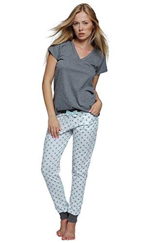 SENSIS stillvoller Baumwoll-Pyjama Schlafanzug Hausanzug aus feinem T-Schirt und bequemer Hose (L (40), dunkelgrau mit Sternen)