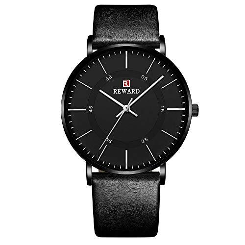 Relojes para Hombre Relojes de Cuarzo analógicos con Fecha Impermeable de Acero Inoxidable-B