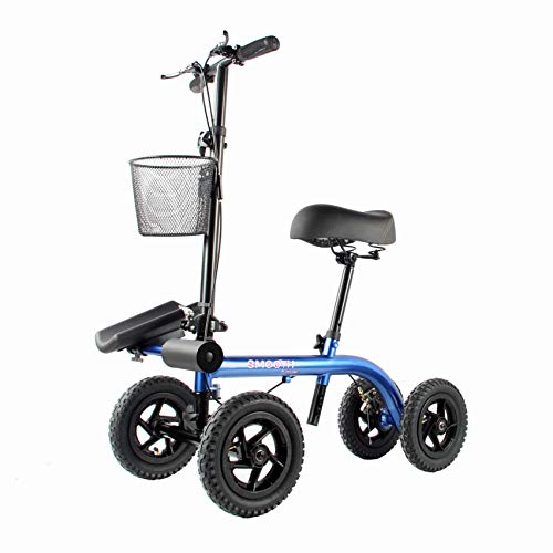 """Tuffcare Smooth Seated Knee Scooter, Slow Propelled Steerable Mobility Knee Walker Crutches, Wheelchair Alternative with Dual Brakes, Fits Height of 5'2""""-6'3"""" (Cobalt Blue, Outdoor Tires)"""