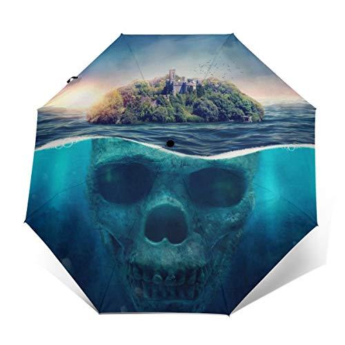 Ombrello subacqueo a forma di teschio, antivento, compatto, per donne e uomini, da viaggio, pieghevole