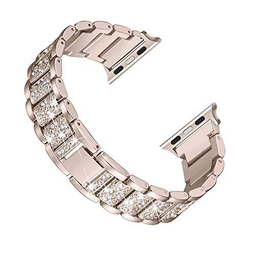 Fhony Pulsera de Repuesto Compatibile con Apple Watch Cinturino 38mm 40mm 42mm 44mm Iwatch SE Series 6 5 4 3 2 1 Correa de Acero Inoxidable Diamantes para Mujeres Damas,Vintage Gold,42mm