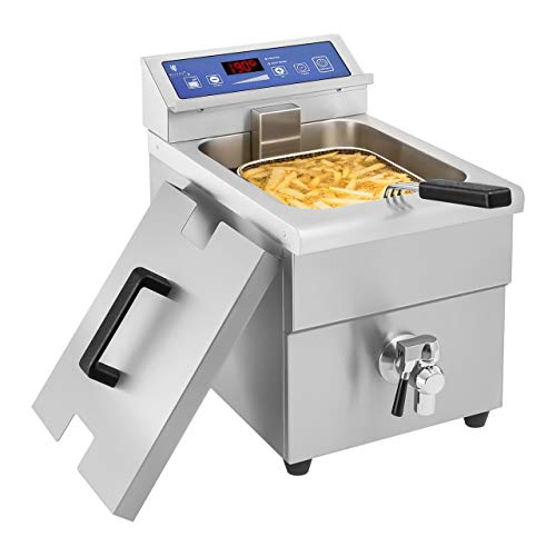 Royal Catering Friteuse à Induction Electrique Professionnelle RCEF 08E-Ego (10L, 3.500W, 60-190°C, avec Robinet de vidange, avec minuterie)