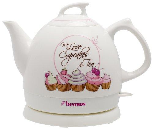 Bestron Bollitore in stile retro, Sweet Dreams, 0,8 litri, Ca. 1.800 W, Ceramica, Bianco