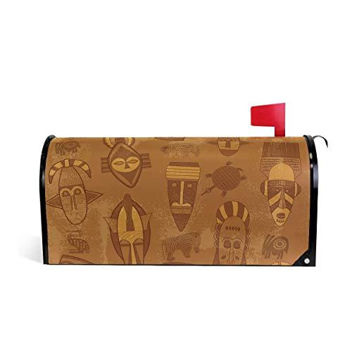 prz0vprz0v Tribal Masker Textuur Magnetische Mailbox Cover 21 x 18 Inch Waterdichte Canvas Mailbox Cover