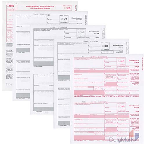 1099 MISC Forms 2020, 4 Part Tax Forms, Kit for 25 Individuals Income Set of Laser Forms - Designed for QuickBooks and Accounting Software, 2020 1099 Tax Forms