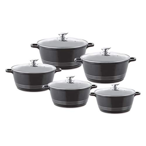 Durane Die-Cast Stockpot Set with Lids 5pc (Black)