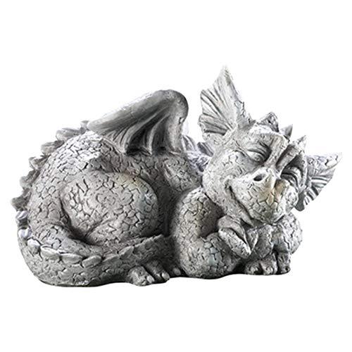 Hotsel Dragon Statue, Sleeping Baby Dragon Stone Facing Statue, Stunning Garden Dragon Ornament, Resin Animal Statue Outdoor Garden Decorations, 23x13x14cm