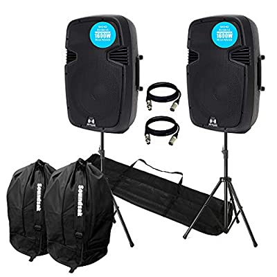 "VONYX Ekho RS15A V3 3200W IPP Active DJ PA Club 15"" Speaker Stereo Package With Stands"