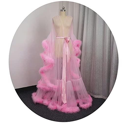 YuleQiufeng Lencería Sexy Bata de Boudoir, Vestido de Noche de Las señoras, Bata de Boda de Novia Bata de decoración de la Boda para Las Mujeres Vestido de Novia Vestido(XXL, Pink)