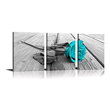 YPY Rose Wall Art for Bedroom Teal Floral Flower Black White Oil Painting Printed on Canvas Artwork Pictures Ready to Hang (Blue, 12x16in)