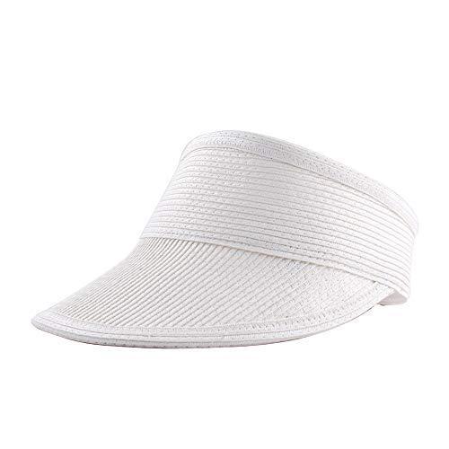 Sombrero Viseras Mujer Verano de Paja Vacío con ala Grande Gorra Pamela de Sol Playa Viaje Vacaciones (Lu-239-Blanco, Talla única)