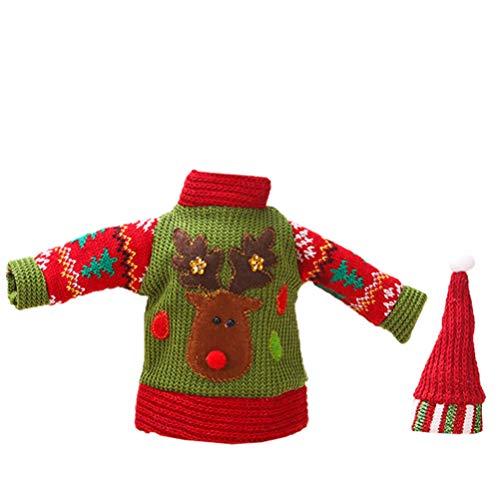 ABOOFAN Decoración de la cubierta de la botella de vino de Navidad suéter de punto decoraciones de mesa de Navidad