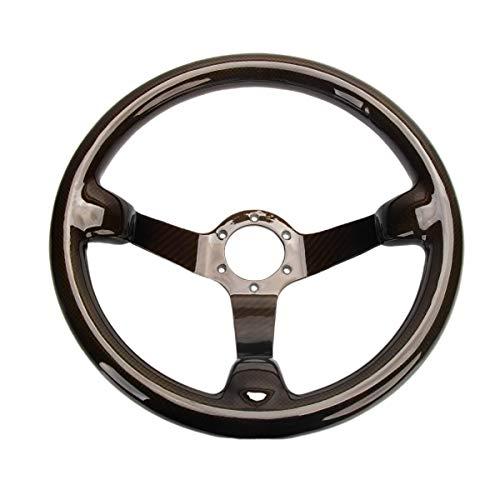 HIWOWSPORT 340mm Bolts Racing Car Steering Wheel Real Carbon Fiber 13.4' Black 6 Holes