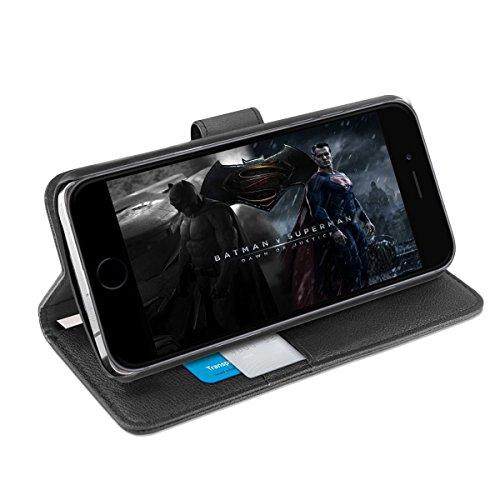 Orzly Funda iPhone 8, Funda Multifunción para iPhone 8/iPhone 7 - Multi-Functional Wallet Stand Case - Funda/Billetera con Tarjetero, Soporte Integrado y Cierre magnético en Negro