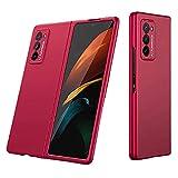 XJZ Compatible para Samsung Galaxy Z Fold 2 Funda(2020)+3D Vidrio Templado Protector de Pantalla/Carcasas Ultra Fina Silicona Caja,Bumper 360°Protectora Cojín Skin Case Caso Cover-Rojo