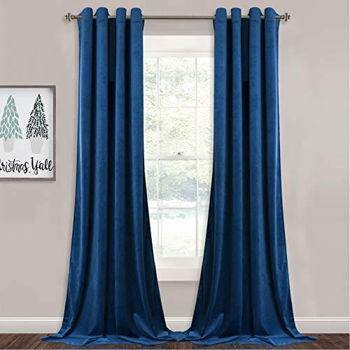 StangH Blaue Samtvorhänge – Verdunkelungsvorhänge aus weichem Samt – wärmeisoliert, Sichtschutz für französische Tür/Salon, königsblau, B 132 x L 224 cm, 2 Paneele