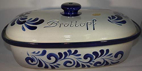 Töpferei Seifert Brottopf grau blau Gross 40 cm | Brotkasten | Brotbox | Brotdose | Brotbehälter | Steinzeug | LxB 41x25