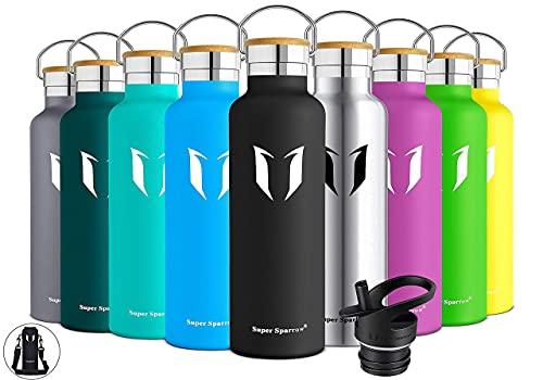 Super Sparrow Trinkflasche Edelstahl Wasserflasche - 500ml - Isolier Flasche mit Perfekte Thermosflasche für Das Laufen, Fitness, Yoga, Im Freien und Camping | Frei von BPA (Schwarz)
