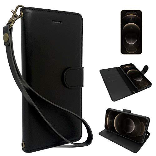 シズカウィル(shizukawill) Apple iPhone12 / 12 Pro 手帳型 黒色 PUレザー シンプル ブラック ケース カバー ビンテージストラップ付 カード収納あり iPhone 12 アイフォン 12プロ 12pro iphone12 手帳ケース