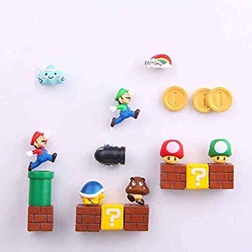 ZP-MIN 63 imanes 3D de Super Mario Bros. Pegatinas para nevera, con mensaje de Luigi, niñas, niños, niños, estudiantes, regalo de cumpleaños, 10 combinaciones, 18 combinaciones
