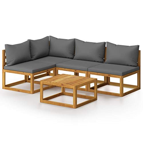 vidaXL Akazienholz Massiv Gartenmöbel 5-TLG. mit Auflagen Lounge Sofa Garten Garnitur Sitzgruppe Gartenset Sitzgarnitur Tisch Gartensofa