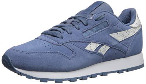 Reebok Women's Classic Leather Walking Shoe, Sidestripes-Blue Slate/wh, 5.5 M US