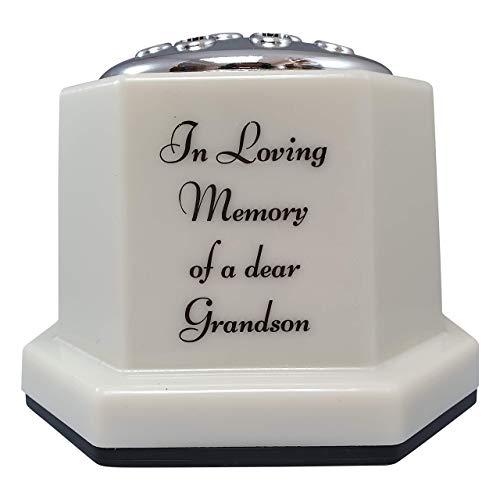 INERRA Memorial Grave Vaas Ivoor met Zilveren Deksel - Zware & Stevige Pot Container voor Graveside Bloem Arrangementen Grandson with Script Font Ivoor