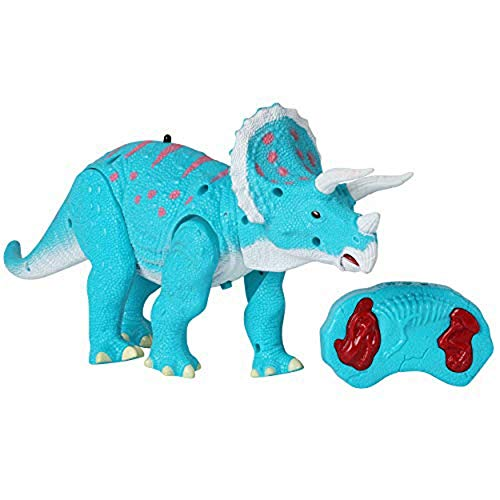 Remote Control Dinosaur - Triceratops Toy Roars, Walks, Lights Up, Bobs its Head and Stomps - RC Toys for Kids Ages 3 and Up - Blue Walking Dinosaurs Figure with Wireless Controller