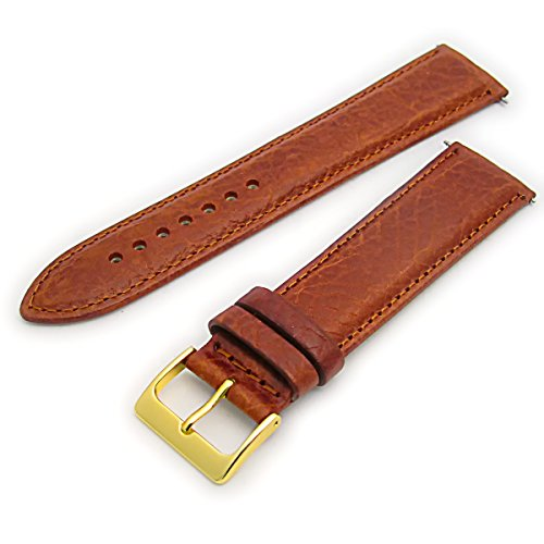 Verona XL-Uhrenarmband, gepolstert, Leder, Kamel-Muster, extra lang, 20mm breit, mit goldfarbener Schnalle, Hellbraun