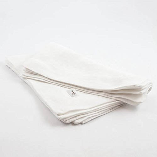 Set of 4 pure linen napkins in white linen pouch