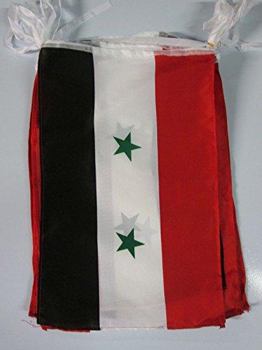 AZ FLAG FAHNENKETTE FREIE SYRISCHE Armee 12 Meter mit 20 flaggen 45x30cm- SYRIEN Girlande Flaggenkette 30 x 45 cm
