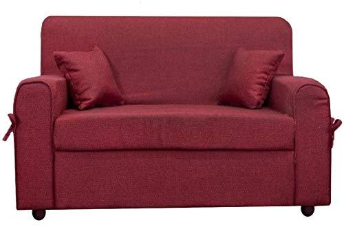 Divano 2 posti Mini Estasi Tessuto Rosso scuro 2 cuscini omaggio
