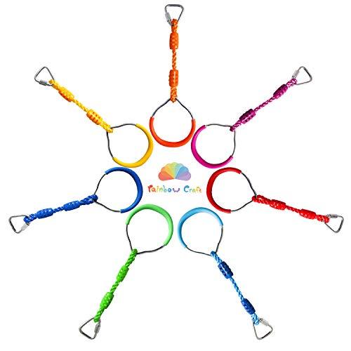 Rainbow Craft Colorful Ninjaline Rings - Gymnastic Rings, Ninja Rings, Swing Bar Rings, Monkey Rings for Backyard Ninja Obstacle Accessories - 7pcs Pack