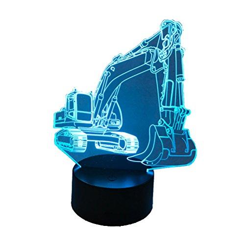 LED Nachtlicht (Bagger) mit 7 Farben. Betrieb wahlweise mit Batterie oder USB Anschluss möglich. 3D Illusion.