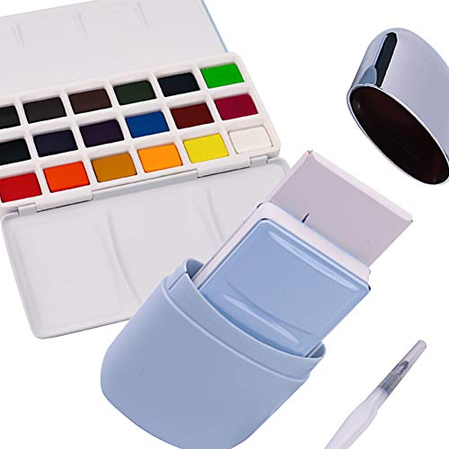 HIMI Watercolor Paint Set of 18 Colors with Brushes, watercolor Paper, Perfect for Artist, Hobby Painter & Students(Blue)