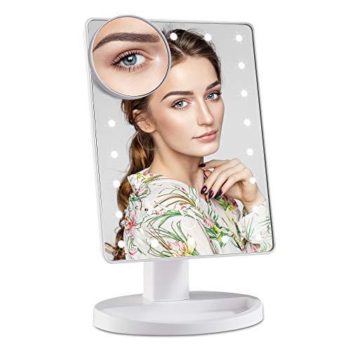 Wopeite Espejo de Maquillaje con 22 Luces LED y Aumento de 10X Carga con USB o Batería Espejo Maquillaje Rotación Ajustable de 180° Blanco