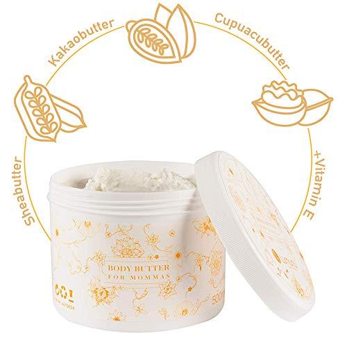 Deluxe Body-Butter für Babybäuche (500ml), reichhaltiges Körper-Mousse für trockene Haut aus 3 natürlichen Pflanzenbuttern mit Vitamin-E, gegen Spannungsgefühle, von Venize