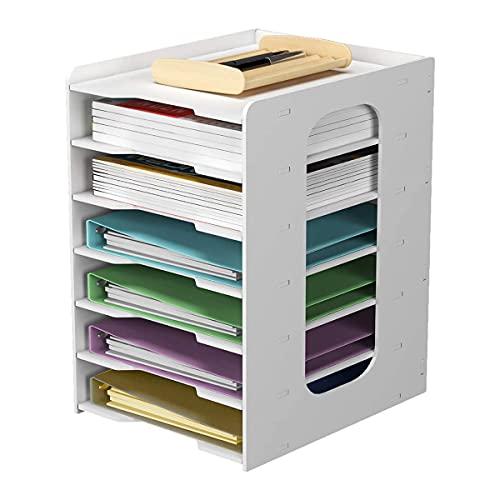CHENYI 1 organizador de archivos de color blanco para escritorio, para casa, oficina, escuela, multifuncional, organizador de archivos de 7 niveles, para archivos, decoraciones, archivos