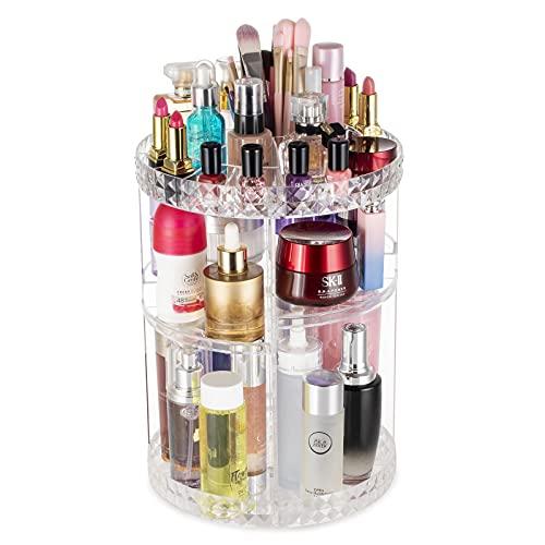 Argox 360 Rotating Makeup Organizer,Large Capacity&Adjustable Multi-Function Cosmetic Storage Box,The Perfect Makeup Organizer On The Dresser