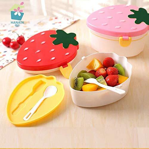 Guizu Kinder Snackbox, Bento Box mit unterteilten Fächern, Lunchbox mit 1 Fächern und Besteck, Auslaufsichere Brotzeitbox Vesperdose Mikrowelle Heizung- Perfekt für Unterwegs (500ML)