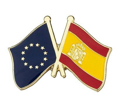 Gemelolandia | Pin de Solapa Bandera de la Unión Europea y Bandera de España | Pines Originales Para Regalar | Para las Camisas  la Ropa o para tu Mochila | Detalles Divertidos