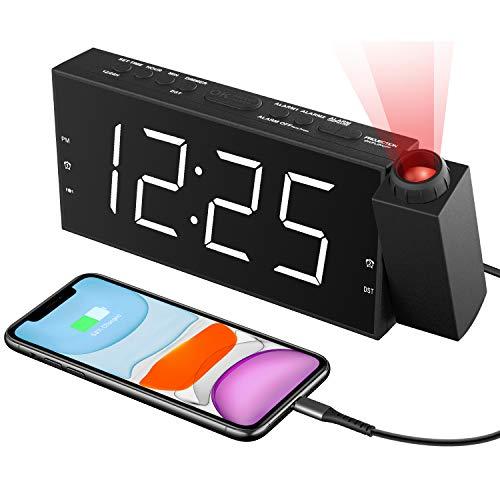 """ROCAM Projektionswecker Wecker Digital mit USB-Anschluss, Große 7"""" LED Bildschirm, 4 einstellbare Helligkeiten, Wechselstrom,Batterieunterstützung für Schlafzimmer, Küche, Kinder (Rot Projektionsuhr)"""