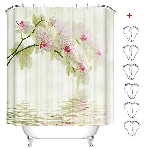 MIN-XL Duschvorhang Anti-Schimmel Textil Waschbar Anti-Bakteriel Badvorhänge 3D Wasserdicht Duschvorhänge mit 12 Edelstahl Duschvorhangringe für Badezimmer (Feliopsis, 180 x 200 cm)