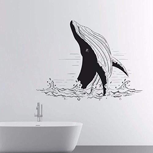 Zykang Adesivi murali animali marini Adesivi per balene rimovibili in mare Mappa murale Bagno domestico Pittura murale decorativa Adesivi murali stile vinile in PVC-75X57Cm_622 Nero