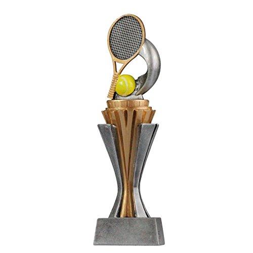 pokalspezialist Pokal Trophäe Tennis mit Sockel in Gold/Silber ca. 17 cm hoch Größe S