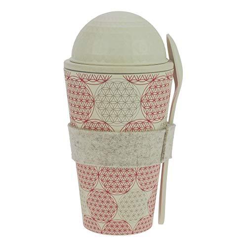 ebos Müsli-to-Go Becher aus Bambus | Müslibecher, Müslischale, Joghurtbecher | wiederverwendbar, umweltfreundlich, spülmaschinengeeignet, Verschiedene Designs (Blume des Lebens)