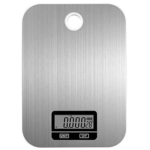 ZJBD YUMEI Good Things Recomendado - Báscula digital de cocina de acero inoxidable de 5 kg / 1 g, báscula electrónica de cocina de alta precisión para hornear alimentos con gancho de pared